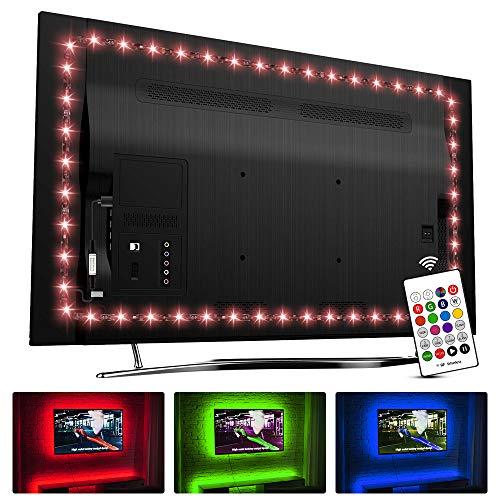 USB TV Hintergrundbeleuchtung für 70 75 80 82 Zoll Fernseher, Hamlite 5.5M LED Streifen Hintergrundbeleuchtung mit RF Fernbedienung, DIY Farbwechsel Ambilight TV Hintergrundbeleuchtung