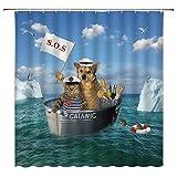 Lustiger H& & Katze Duschvorhang niedliches Tier H& Katze auf dem Ozean Cosplay Comic Design für Tierliebhaber Zuhause Badezimmer Dekor Stoff Vorhang mit 12 Haken, 177 x 177 cm, blau