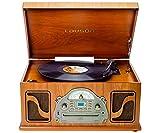 Lauson IVX22 Tocadiscos Clásico FR Madera CD Radio Grabación Digital MP3 Bluetooth Vinilo