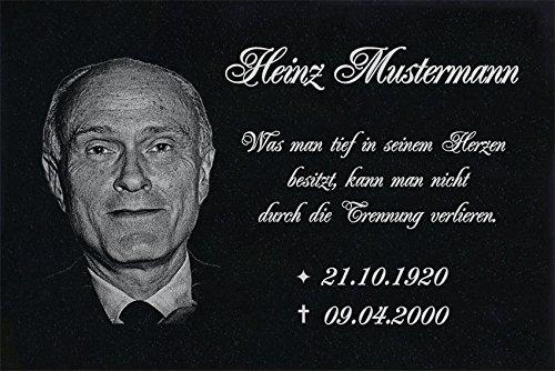 LaserArt24 Granit Grabstein, Grabplatte oder Grabschmuck mit dem Motiv Grabstein-ag06 und Ihrem Foto/Text und Daten