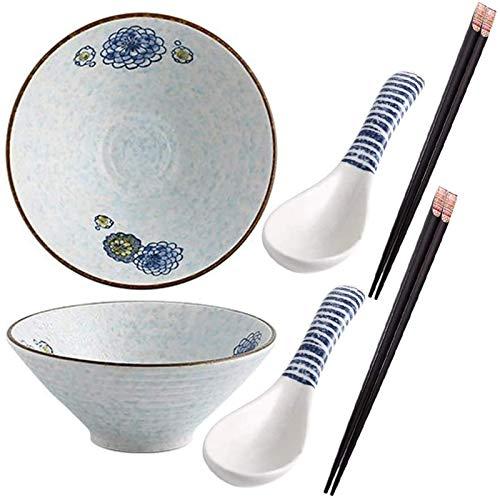 YWYW Juegos de Cuencos japoneses para Fideos, Cuencos de cerámica para Ramen de 9 Pulgadas, Cuenco para Servir más Grande con Cuchara y Palillos a Juego, para Sopa, Fideos, Pho, Udon