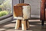 Invicta Interior Sgabello di Design Hide con Vera Pelle di Capra e Legno di Teak in Vera Pelliccia