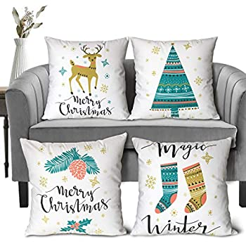 WENDE Christmas Pillow Covers 18x18 Set of 4 - Vintage Christmas Throw Pillows Covers Farmhouse Christmas Pillows Covers for Sofa Couch