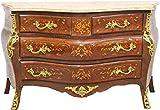 Casa Padrino Cómoda barroca marrón con Incrustaciones de mármol Crema 140 cm - Estilo Antiguo de los Muebles