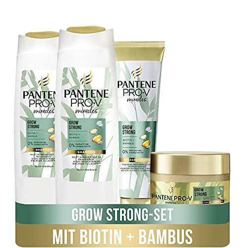 Pantene Pro-V Miracles Haarpflege Set: 2x Grow Strong Shampoo 250 ml + 1x Pflegespülung 160 ml + 1x Haarmaske 160 ml, Shampoo Damen, Conditioner, Bambus, Bamboo, Biotin,...