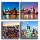 Printerland Cuadros Modernos New York Manhattan Ciudad, 4 Unidades, 40 x 40 cm, Cuadros, impresión sobre Lienzo, decoración XXL, para salón, Dormitorio, Cocina, Oficina, Bar, Restaurante