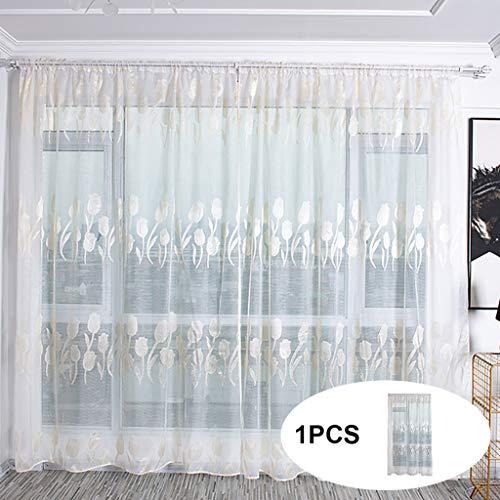 Hunpta @ Voile Vorhang mit Tunneldurchzug Romantisch Tulpe Transparent Gardine Wohnzimmer Schlafzimmer Fenstervorhang Fenster Dekor, 100 x 200cm, 1 Stück