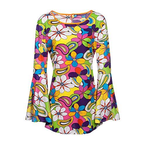 Kostümplanet® Hippie-Kostüm Damen Top Flower Power Outfit 60er Größe 44/46