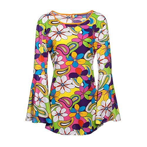 Kostümplanet® Hippie-Kostüm Damen Top große Größen Flower Power Outfit 60er Größe 48/50
