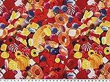 ab 1m: Karnevalsstoff, Digitaldruck, Süßigkeiten, bunt,