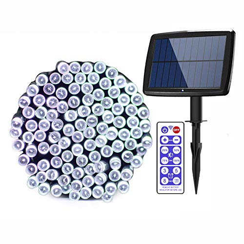 Outdoor Solar String Light 72ft 200LED Solar Fairy String Lights Ambiance Lighting for Xmas, Patio, Lawn, Remote Control/Memory Function/IP65 Waterproof (White)