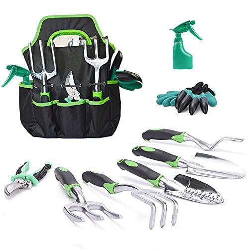 JUMPHIGH Garden Tools Set, 9 Piece Heavy Duty Gardening Tools with Garden...