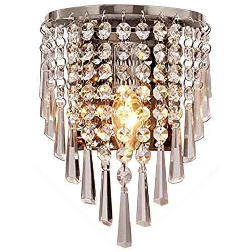 Asvert Kristall wandlampe Europäische Kristall Wandleuchte Moderne Wandleuchte 40 Watt E14 Montiert Leuchte für Schlafzimmer Hotel Wohnzimmer Esszimmer Chrom Finish (Birne nicht enthalten)