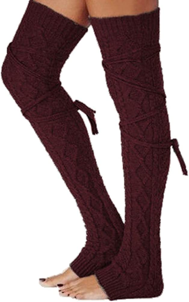 Womens Thigh High Socks Warm Extra Long Cotton Knit Leg Warmer Fashion Over Knee High Boot Stockings For Winter