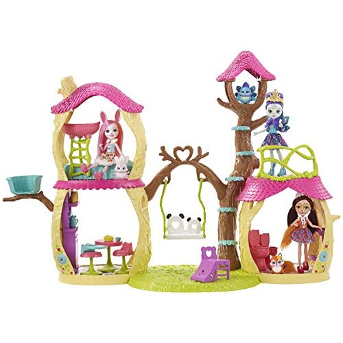 Enchantimals- Casa Sull'Albero, Playset per Le Bambole con Tanti Spazi di Gioco e Accessori a Tema, FNM92