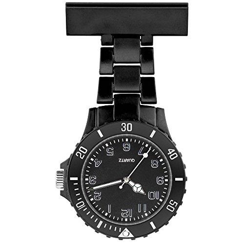 Taffstyle Damen-Uhr Analog Quarz Silikon Uhr Krankenschwesteruhr Kitteluhr mit Nadel Schwarz