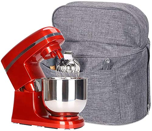 Couvercle anti-poussière pour robot de cuisine avec poches, compatible avec tête inclinable 5-8 litres, gris