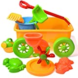 FUN LITTLE TOYS Beach Wagon Toys Set for Kids, Sand Toys Kids Outdoor Toys, Sandbox Toys Set with Big Sand Wagon and Other Beach Toys - 8 PCs