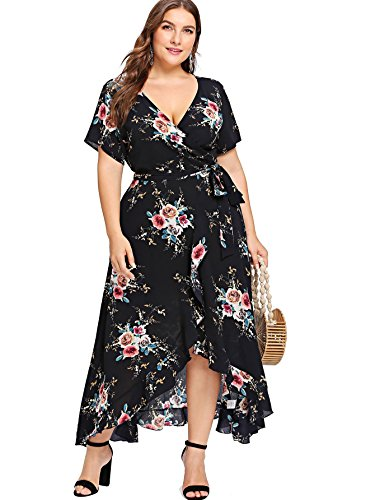 Milumia Plus Size Short Sleeves Wrap V Neck Belted Empire Waist Asymmetrical High Low