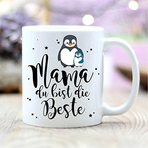 Wandtattoo-Loft® Bedruckte Keramiktasse Mama, du bist die Beste mit süßen Pinguinen/beidseitig/Tasse/Becher/Spülmaschinenfest/Kaffeetasse mit Motiv