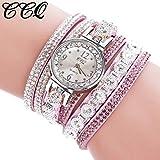 Uhr Armbanduhren Männer Damenuhren Hansee Frauen Weinlese Glänzende Kristallarmband Vorwahlknopf Analoge Quarz Armbanduhr Uhren Wrist Watches(F)