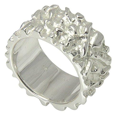 massiver Nugget Ring - hochwertige Goldschmiedarbeit aus Deutschland (Sterling Silber 925 anlaufgeschützt) 12 mm breit - außergewöhnlicher Silberring - Damenring - Herrenring - Partnerring