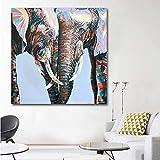 ganlanshu Cuadro En Lienzo Colorido Elefante Africano para decoración de Paredes póster Sala de Estar Carteles y decoración50x50cmPintura sin Marco