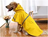 Mikayoo Large Dog Raincoat Ajustable Pet Waterproof Clothes Lightweight Rain Jacket Poncho Hoodies with Strip Reflective(Yellow,XXL)