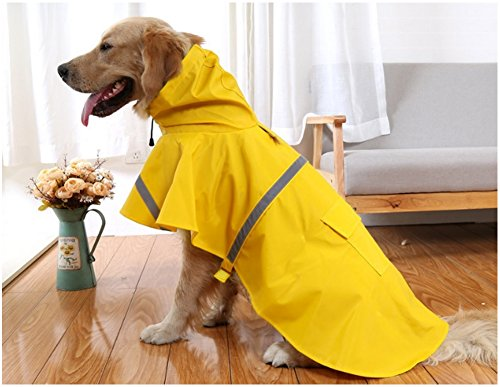 Mikayoo Large Dog Raincoat Ajustable Pet Waterproof Clothes Lightweight Rain Jacket Poncho Hoodies with Strip Reflective (XL, Yellow)