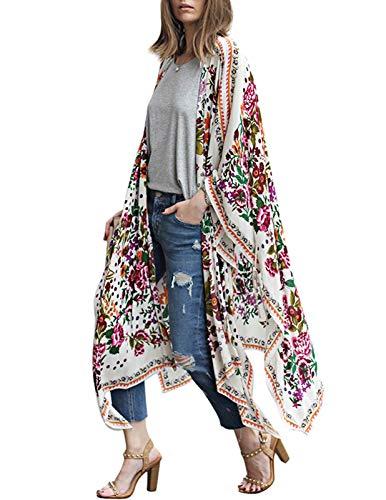 Zexxxy Damen Lange Sommer Boho Strand Kimono Cardigan Bluse Blumen Tops Bikini Cover Ups Übergroß Strickjacke Outwear, Colorful, XL