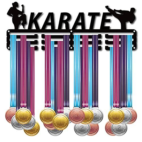 CREATCABIN Karate Athlete Medaillen Aufhänger Halter Display Rack Medaillen Display Ständer Wandhalterung Aufhänger Dekor Für Läufer Zur Aufbewahrung von Abzeichen Zu Hause 3 Sprosse Über 60 Medaillen