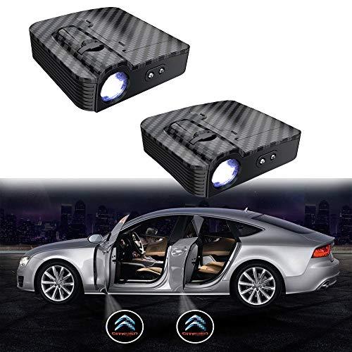 MIVISO Mejorado Puerta de coche Led Logo Proyector Luz Sin imán Lámpara inalámbrica Bienvenido Ghost Shadow Light 2PCS (Aceptar logotipo personalizado)