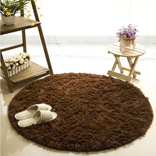 Alfombra redonda mullida de color marrón de la habitación de los niños del juego de las esteras de la sala de estar del dormitorio alfombra antideslizante 120*120