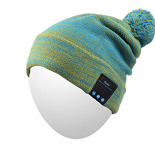 Qshell Bluetooth Beanie Hat Washable Music Cap with Wireless Stereo Headphone Earphone Speakers Mic Hands Free for Outdoor Sports Skiing Skating Camping, Green