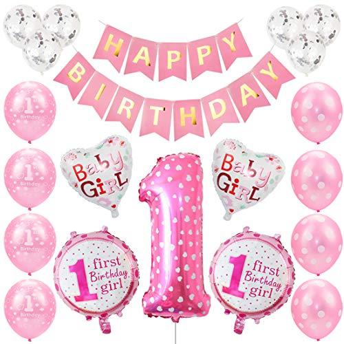 Kindergeburtstag Gastgeschenke Deko Mädchen 1 Jahr Ballons, Deko Geburtstag 1, Geburtstagsdeko Mädchen Zahl 1, erst Geburtstag Deko Happy Birthday Banner Luftballons Rosa Konfetti Helium Set