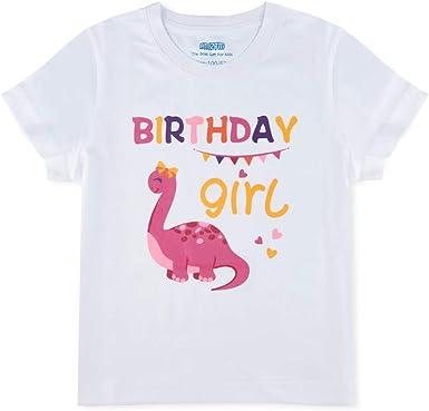 AMZTM - Camiseta de cumpleaños para niña, diseño de Dino