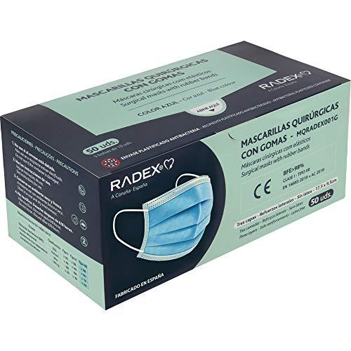 RADEX 85005030. Caja de 50 Mascarillas Quirúrgicas Tipo IIR con Gomas, Azul, Fabricado en España, Tres Capas, Material Hipo Alergénicos, Resistente a Salpicaduras