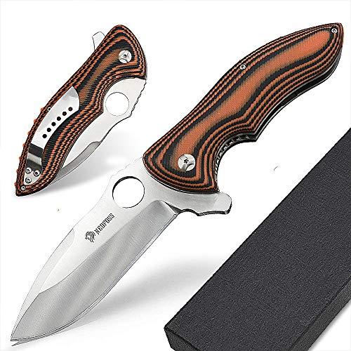 NedFoss Klappmesser Taschenmesser mit Gürtelclip, Einhandmesser mit Gütelclip, Griff aus G10, scharf (Python)