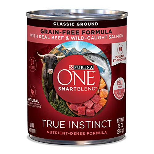 Purina ONE Grain Free, Natural Pate Wet Dog Food, SmartBlend True Instinct With Beef & Wild Caught Salmon - (12) 13 oz. Cans