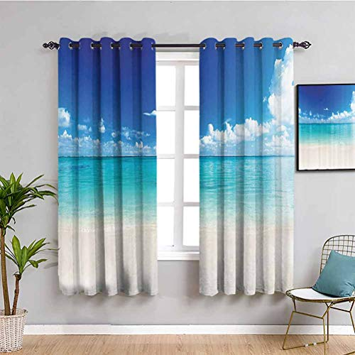 Ocean Decor Collection Outdoor curtain Natural coastal view sand sea beach Caribbean Sea Picture Waterproof Fabric Blue Turquoise White Ivory W52 x L63 Inch