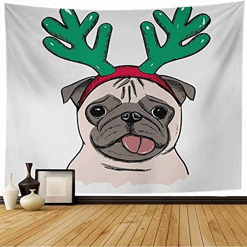 N\A Tapiz de Pared Colorido Lindo Pug de Navidad Cuerno de Perro Ciervo Emocional Año Vacaciones Animal de compañía Animado Tapiz de Colores Vivos Tapiz de Playa para decoración del hogar