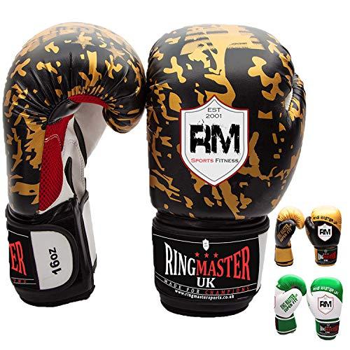 ringmasteruk adulti-guanti de boxeo (Piel Sintética), color negro con oro
