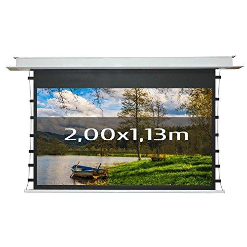 KIMEX 048-5012 Pantalla de proyección eléctrica tensionada empotrable 2,00 x 1,13 m, formato 16/9