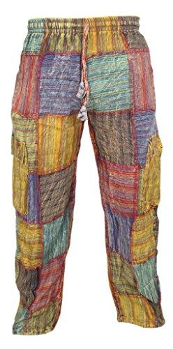 Little Kathamandu Baumwollhose, mit Patchwork-Muster, für den Sommer, für den Alltag, mit elastischem Kordelzug Gr. XX-Large, mehrfarbig