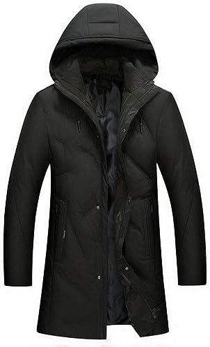 DAFREW Veste en Duvet pour Hommes, Manteau à Capuche épais, Coupe Longue et à Capuche, Trench d'hiver (Couleur   vert, Taille   S)