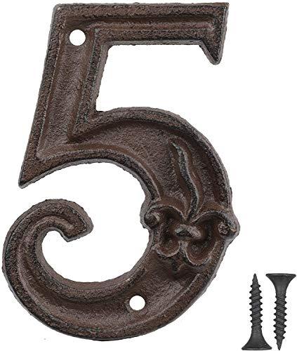 Vand Hausnummer aus Gusseisen, Adressnummernschild, Antikbraun, Rost-Finish mit Fleur de Lis Prägung,11x7,7 cm, Ziffer 5