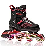 ITurnGlow Adjustable Inline Skates for Kids and Adults, Roller Skates with Featuring All Illuminating Wheels, for Girls and Boys, Men and Ladies Red (Size L/XL)