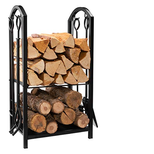 Find Bargain DOEWORKS All-in-One Heavy Duty Hearth Firewood Rack with Fireplace Tools Set, 18 Wide ...