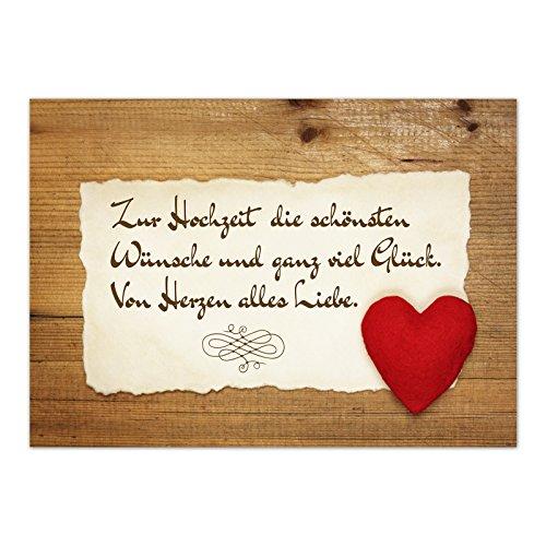 Glückwunsch-Karte zur Hochzeit mit Umschlag/Rustikale Liebe Vintage/Hochzeitskarte/Glückwunsch Karte