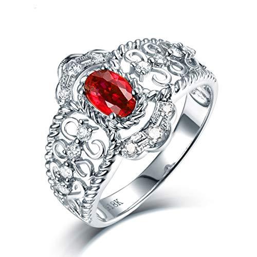 AnazoZ Anillos Mujer Plata Rubi,Anillos para Mujer Oro Blanco 18K Plata Rojo Flor Hueca con Oval Rubí Rojo 0.44ct Diamante 0.23ct Talla 8